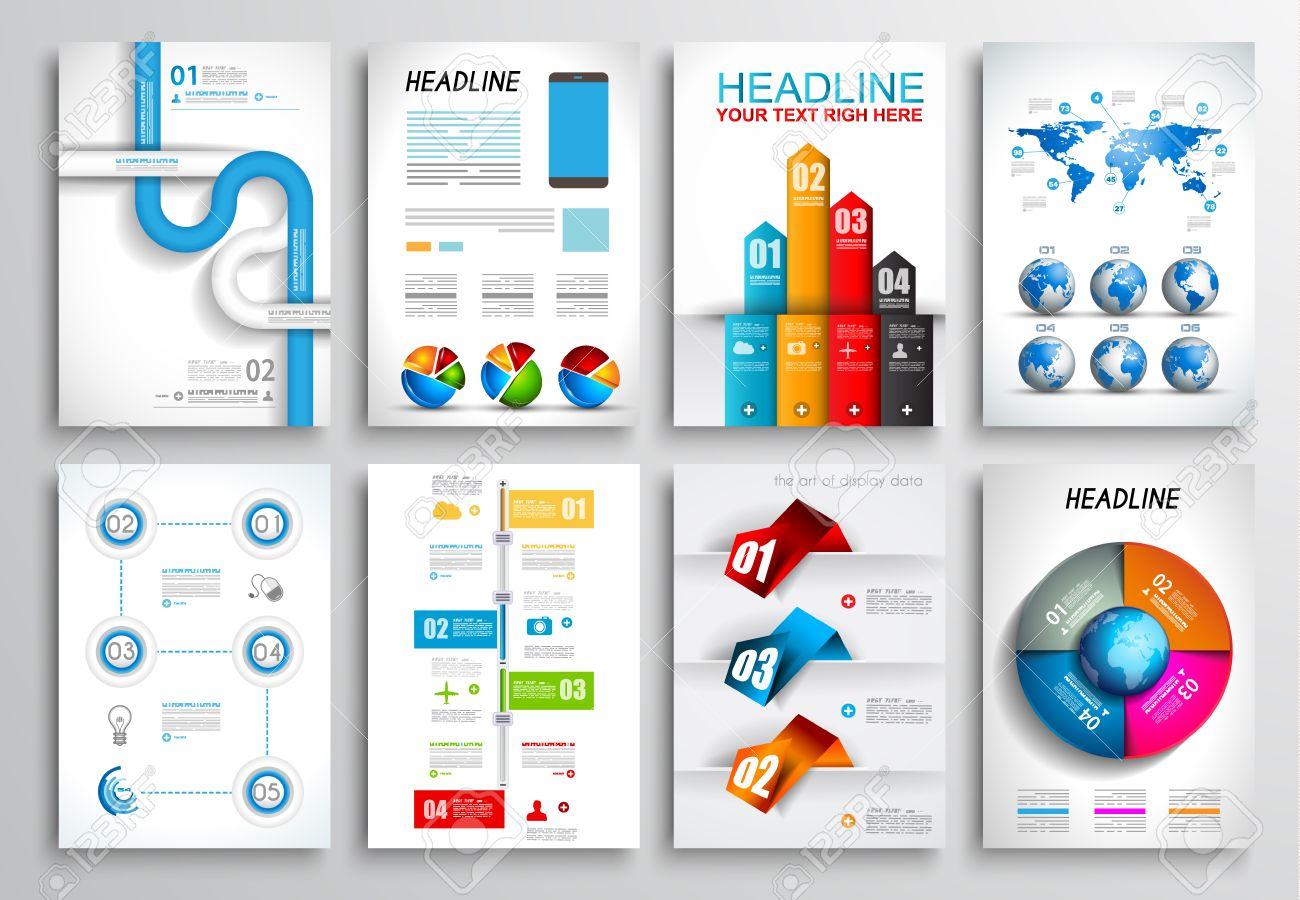 Set Of Flyer Design Web Templates Brochure Designs Technology - Brochure website templates