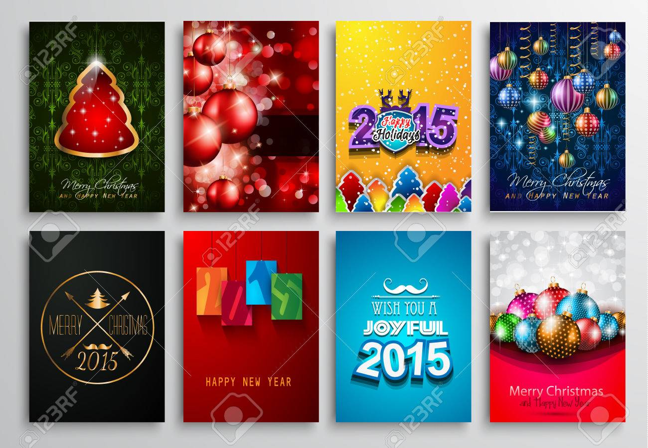 Set Of 2015 New Year And Happy Christmas Background For Your