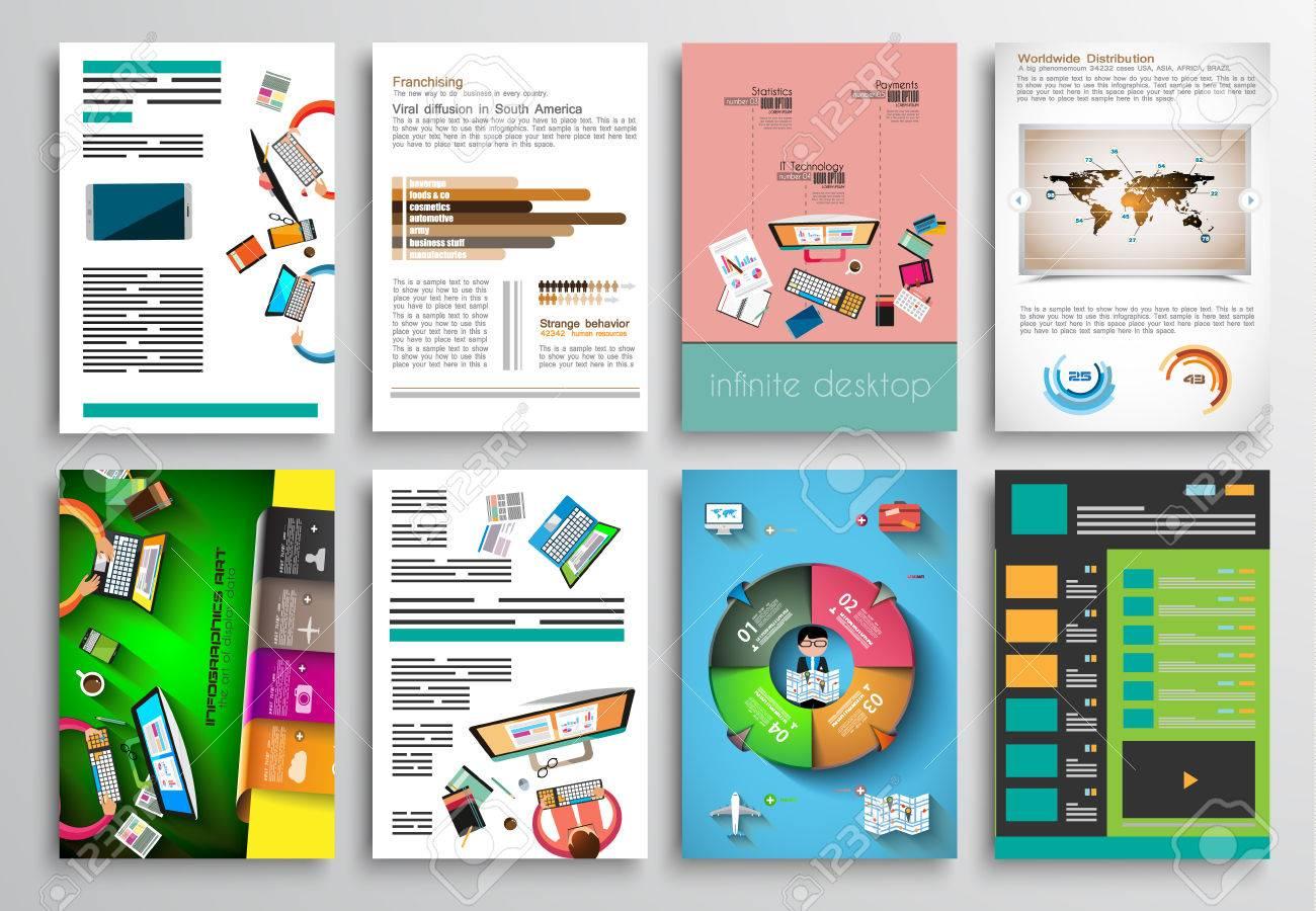 Conjunto De Tarjetas Informativas, Plantillas Web. Diseños Folleto ...