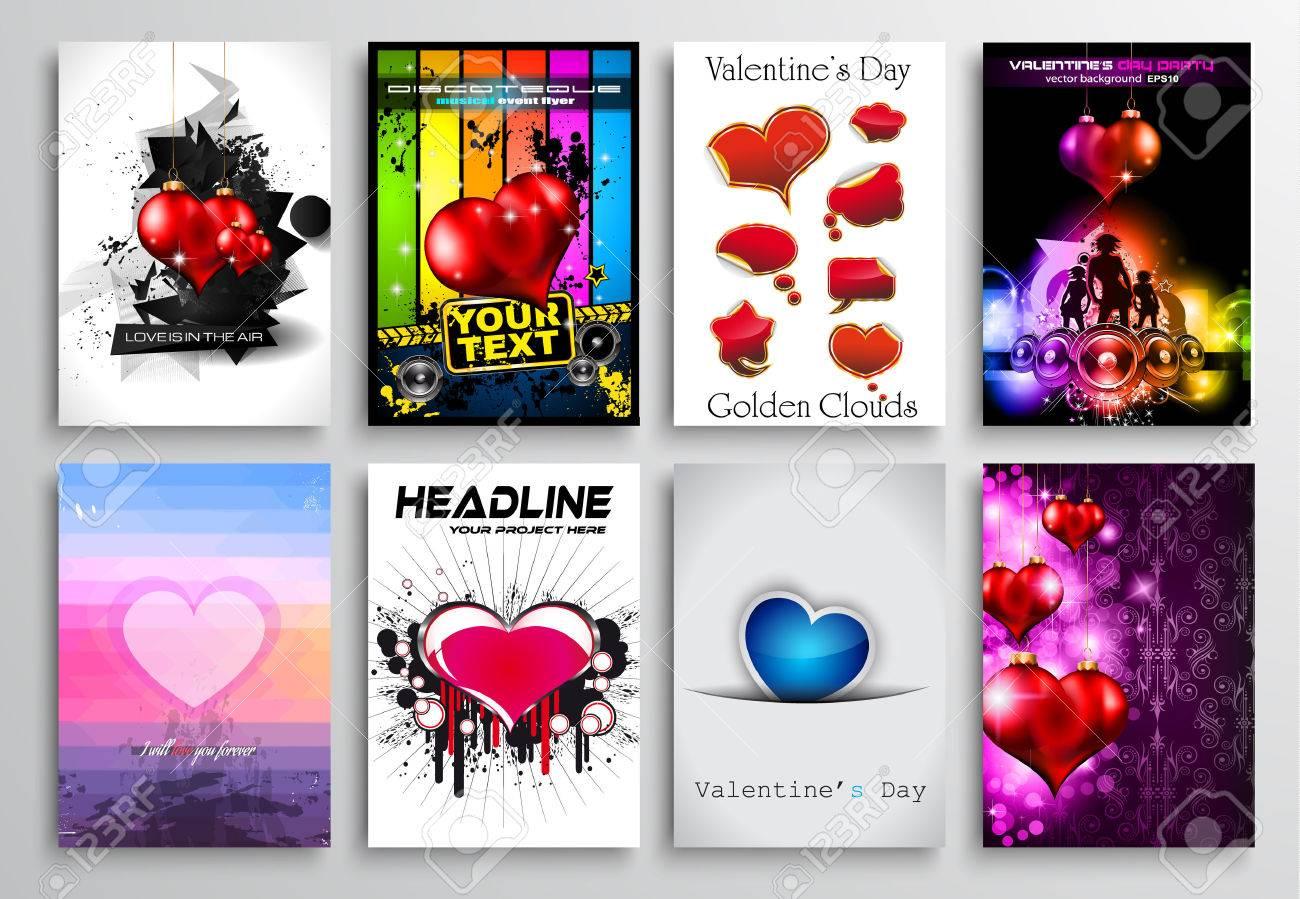Set Of Valentines Flyer Design, Invitation Cards Templates. Brochure ...