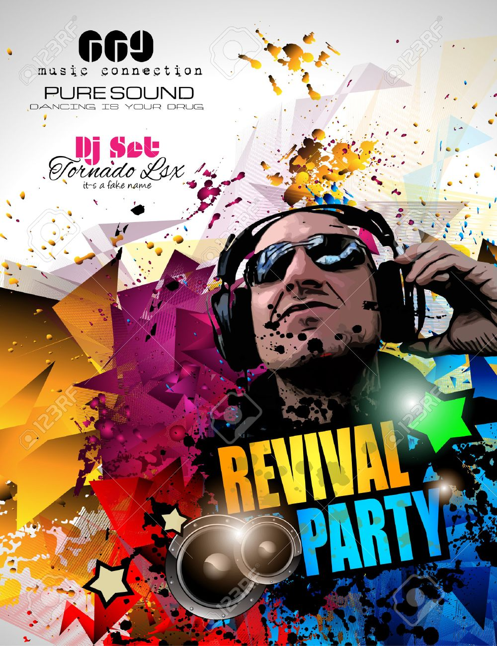 Disco Night Club Flyer Layout With DJ Shape And Music Themed – Club Flyer