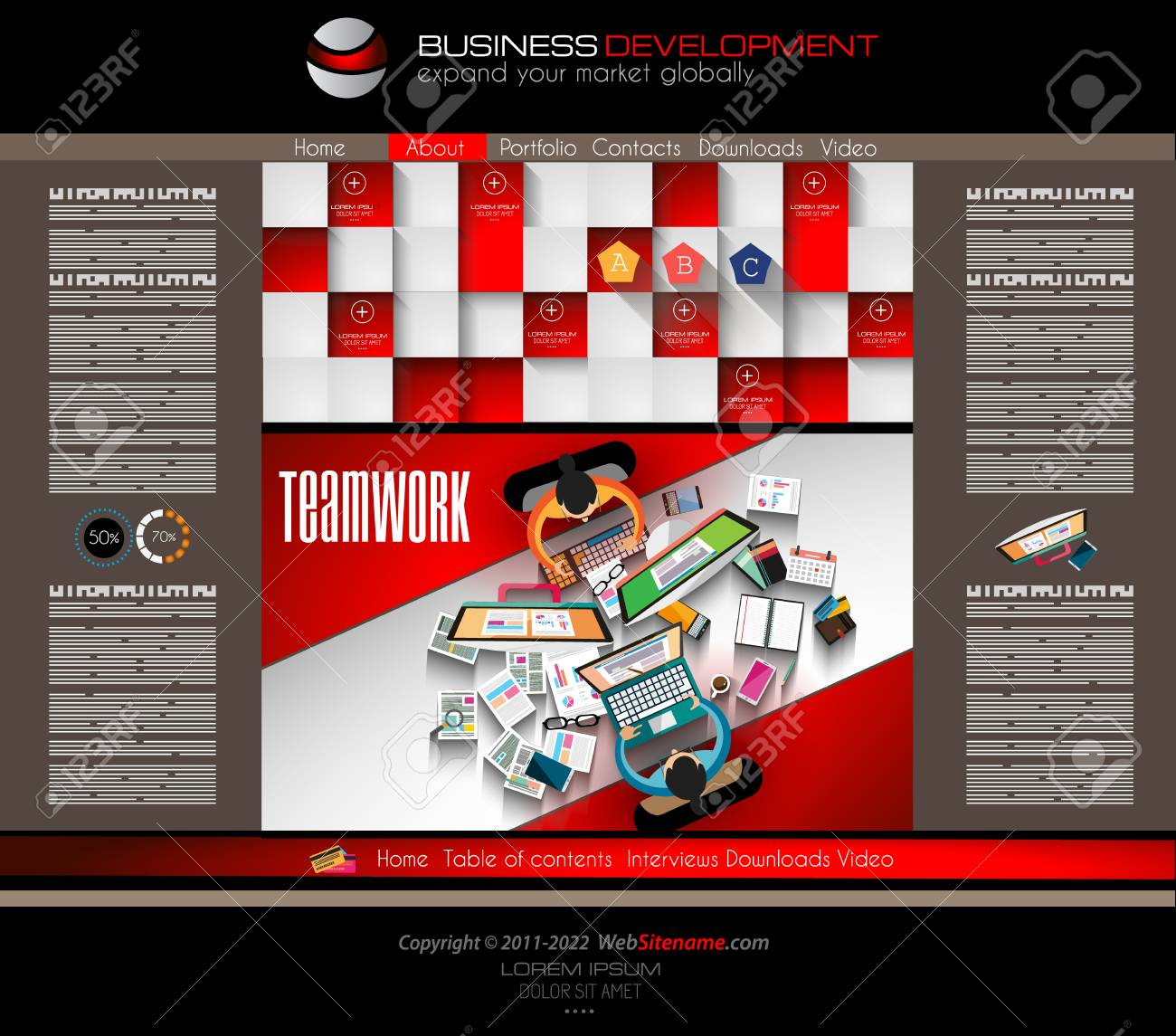 Modern Website Template With Flat Style Infographics Layout For