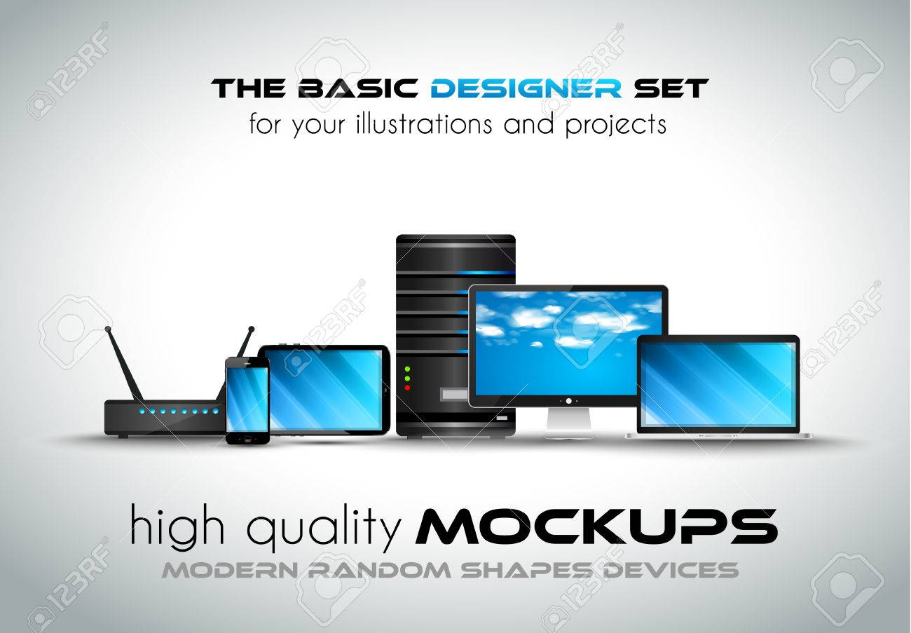 Modern devices mockups for your business projects set of laptop modern devices mockups for your business projects set of laptop desktop computer server greentooth Image collections