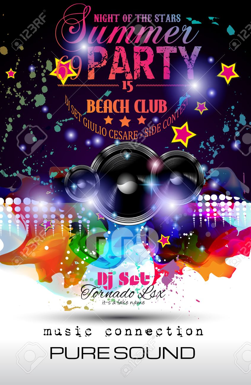 Disco Night Club Flyer Layout With Speaker Shape And Music Themed ...