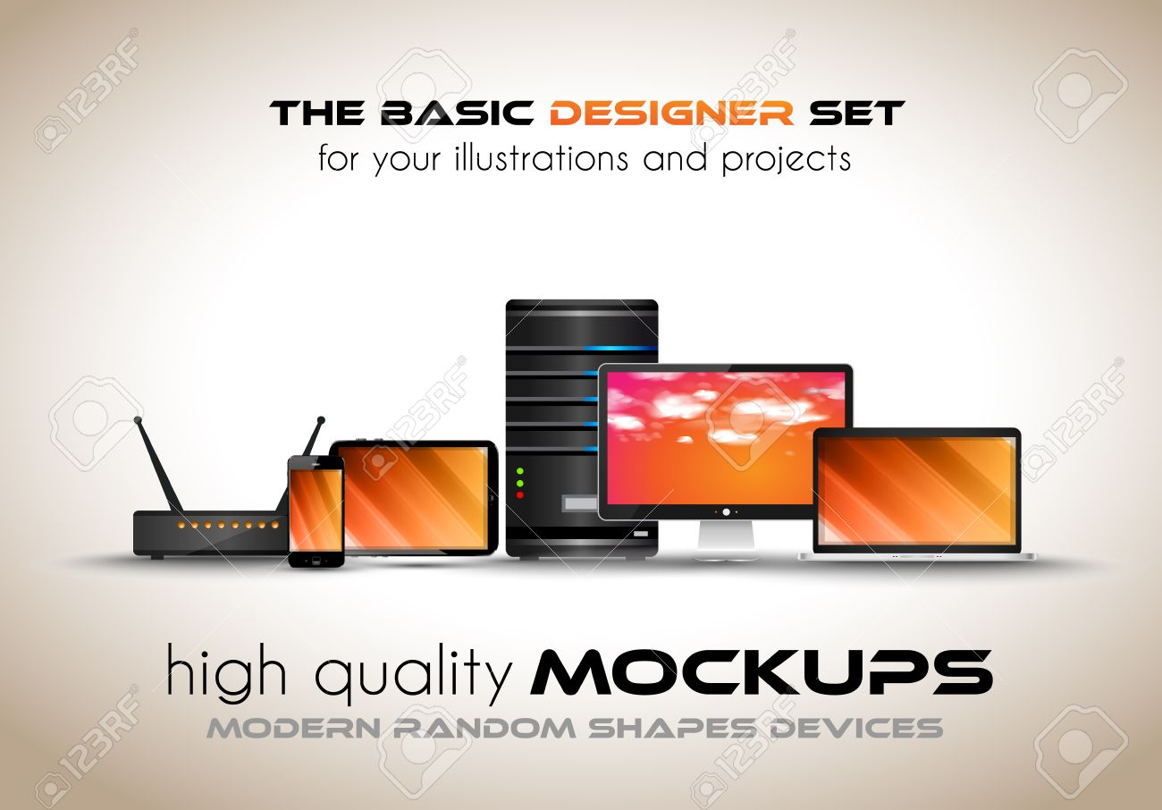 Modern devices mockups for your business projects set of laptop modern devices mockups for your business projects set of laptop desktop computer server keyboard keysfo Gallery