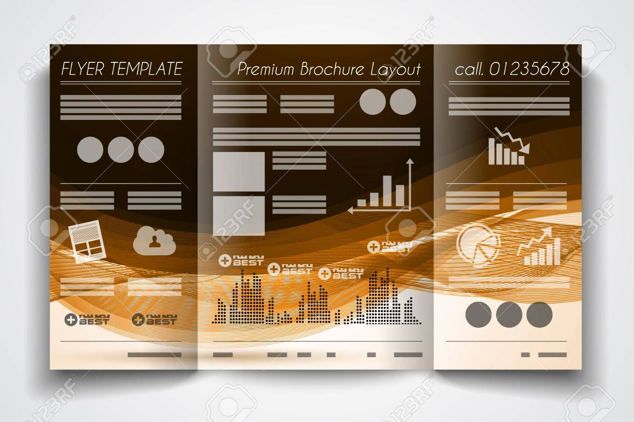 Vector Tri Fold Brochure Template Design Or Flyer Layout To Use For  Business Applications, Magazines  Event Flyer Examples