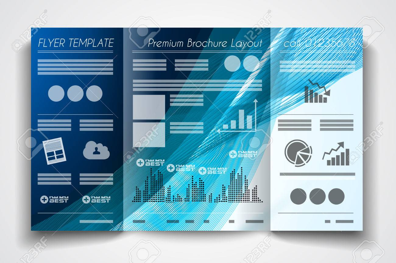 Vector Tri Fold Brochure Template Design Or Flyer Layout To Use - Product brochure templates