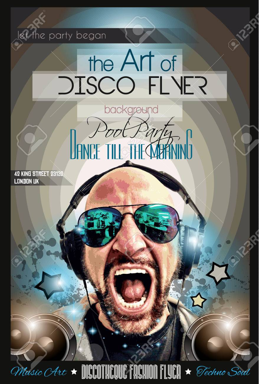Disco Night Club Flyer Layout With DJ Shape And Music Themed ...