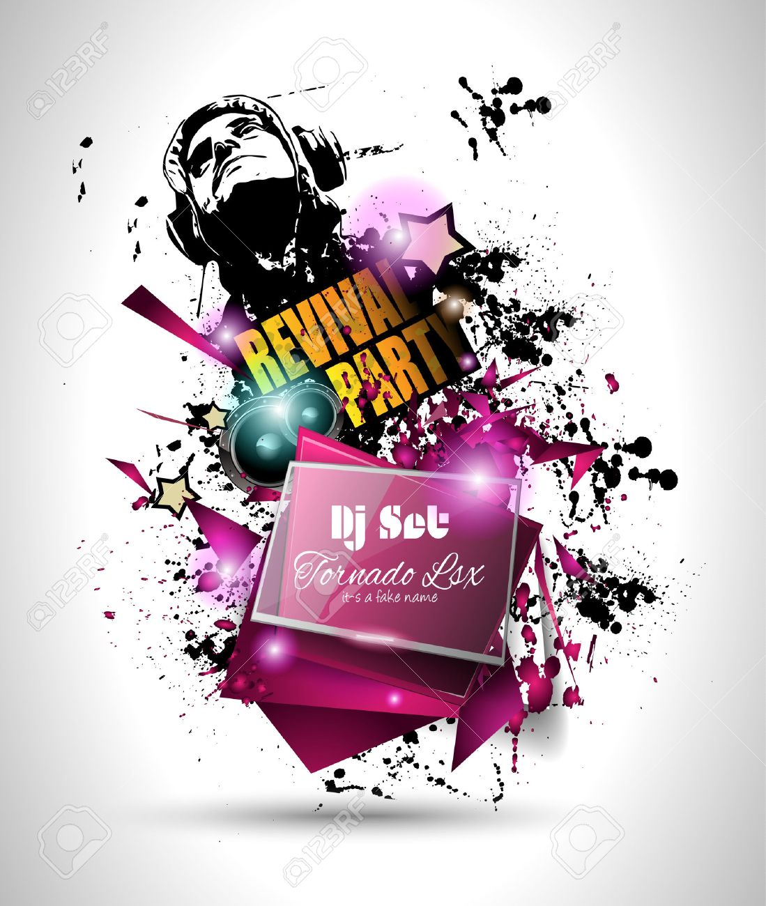 Disco Night Club Flyer Layout With DJ Shape And Music Themed – Night Club Flyer