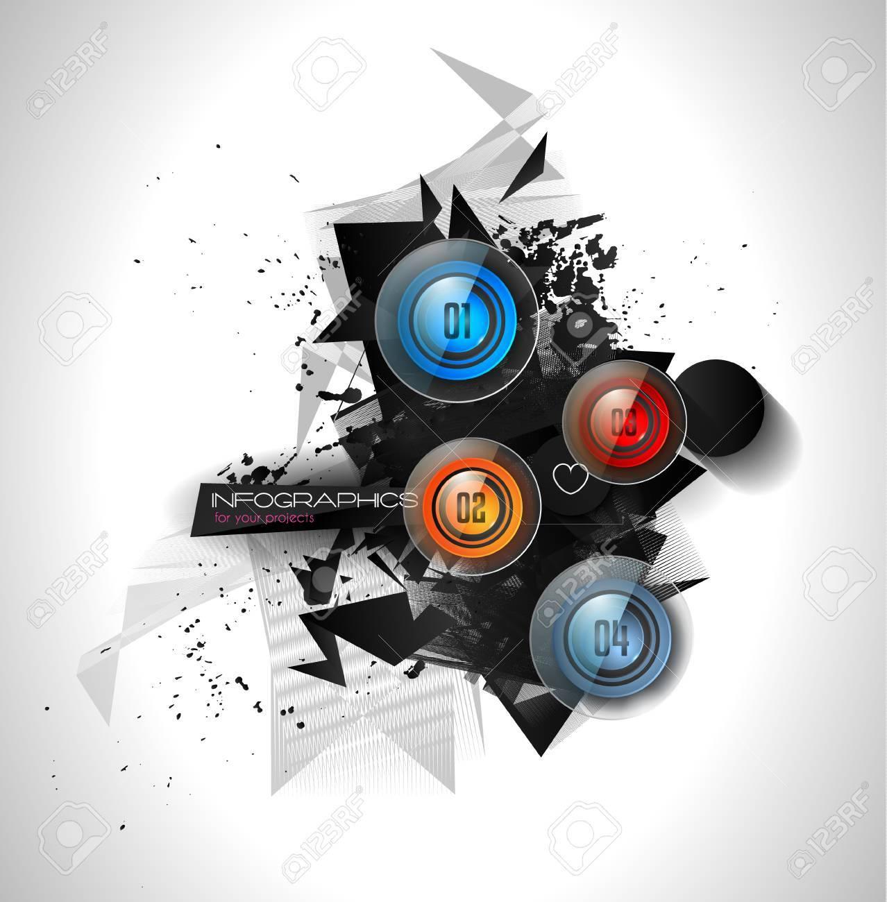 Infografía Resumen Plantilla Con 4 Opciones De Botones De Cristal ...