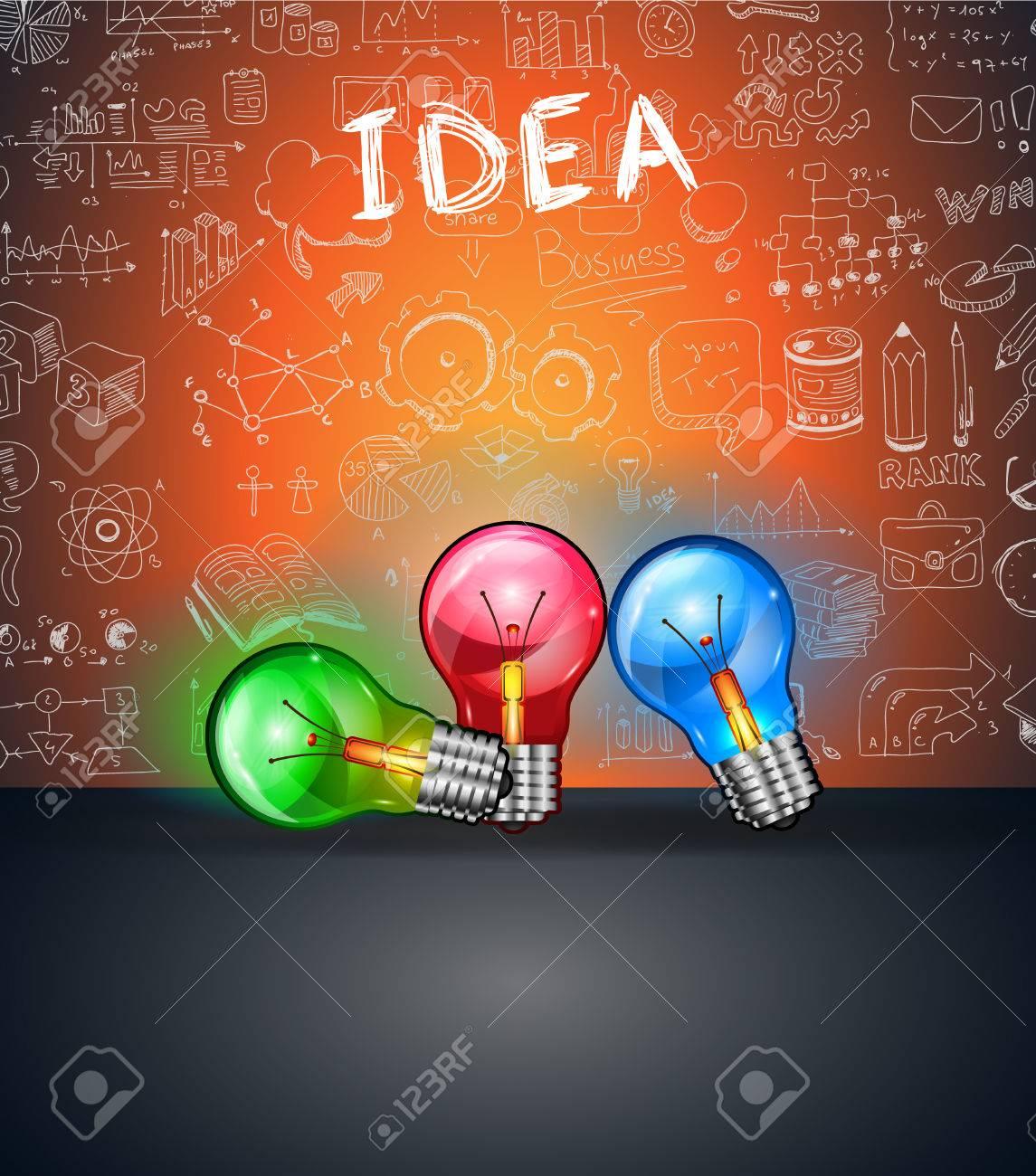 Konzeptionelle Glühbirne IDEA Backgroud Mit Platz Für Text Und 3 ...