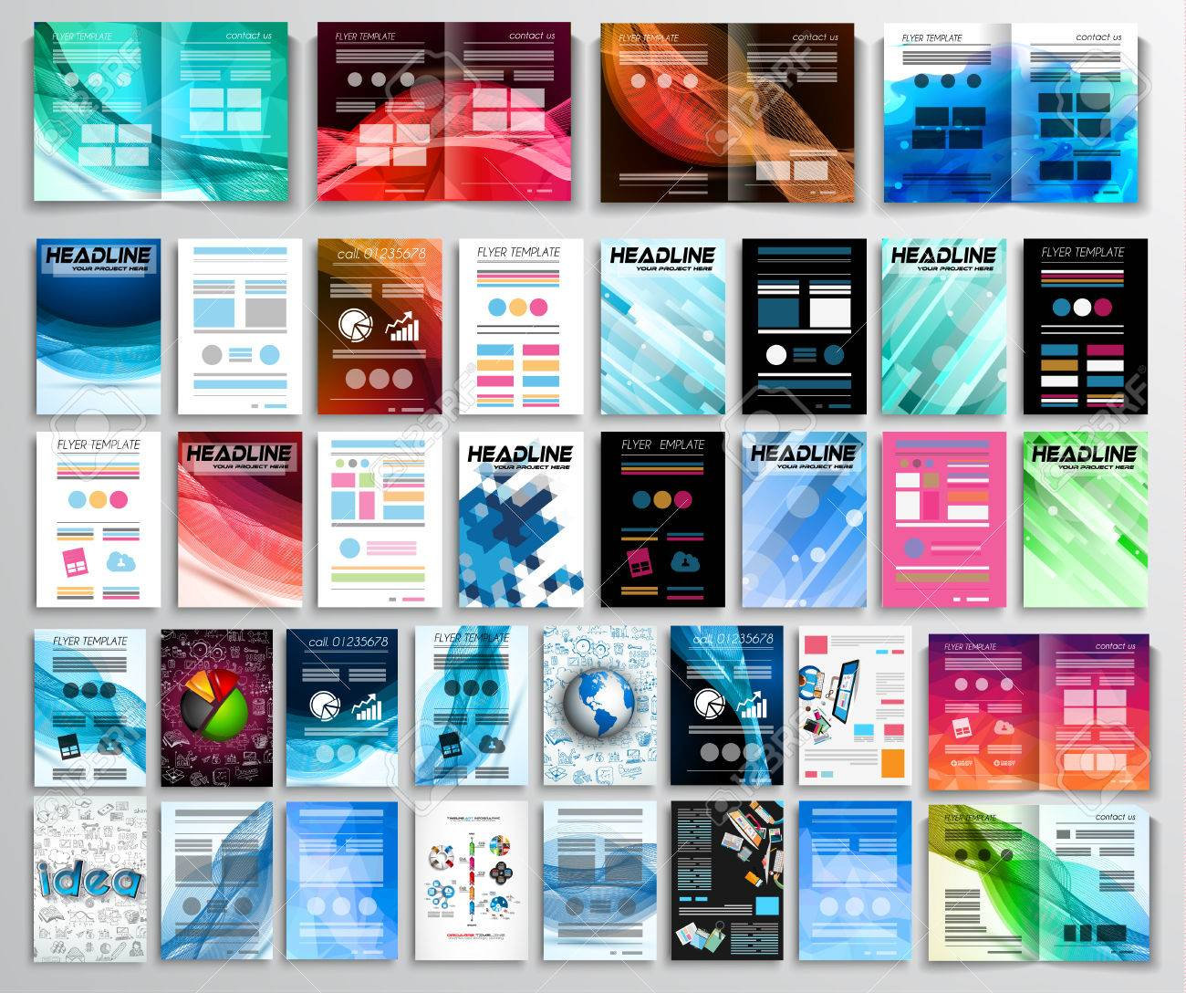 Set Of Flyers, Background, Infographics, Brochures, Business ...