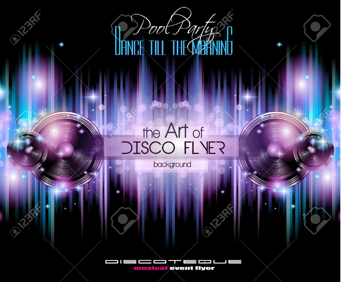 Disco Club Flyer Template For Your Music Nights Event. Ideal For TEchno  Music, Hip  Club Flyer Background