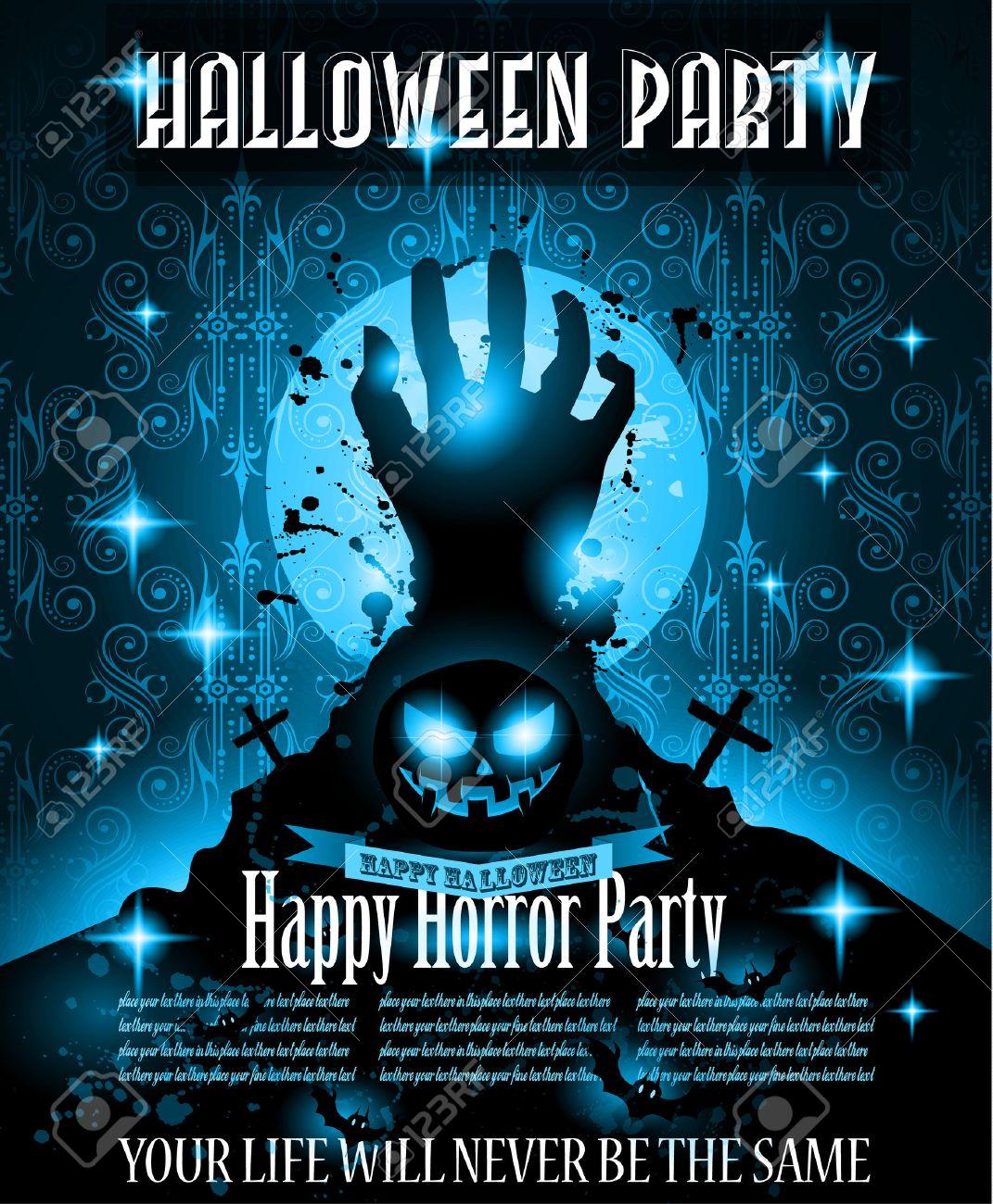 Halloween-Nacht-Party-Ereignis-Flyer-Vorlage Mit Platz Für Text ...