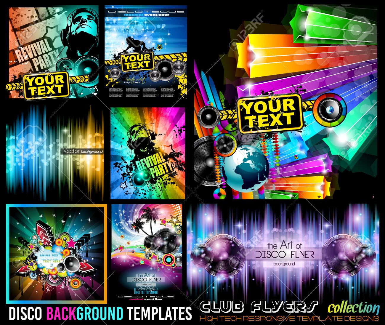 Big Set Of Disco Club Flyer Template For Your Music Nights Event Ideal TEchno