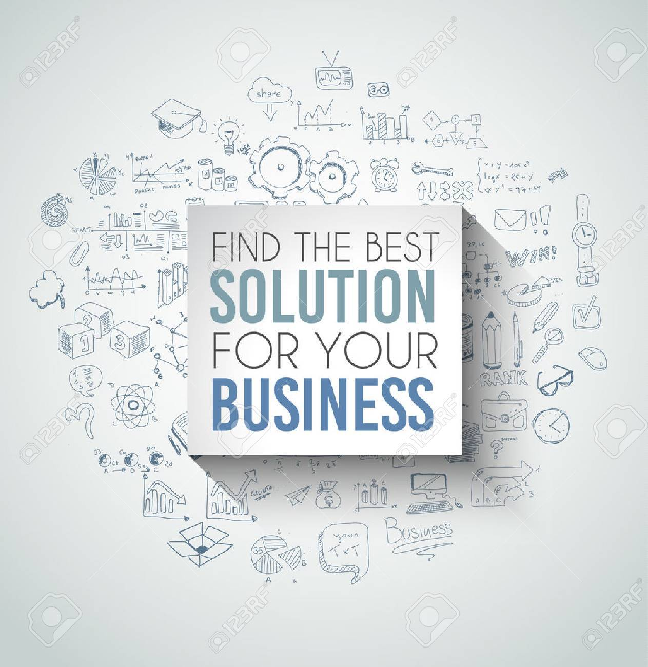 Best Solution for Your Business Slogan over a squared flat panel with soft shadow over an hand drawn doodles skeches collection of symbols, graphs, maths, infographics ans so on. - 45856680