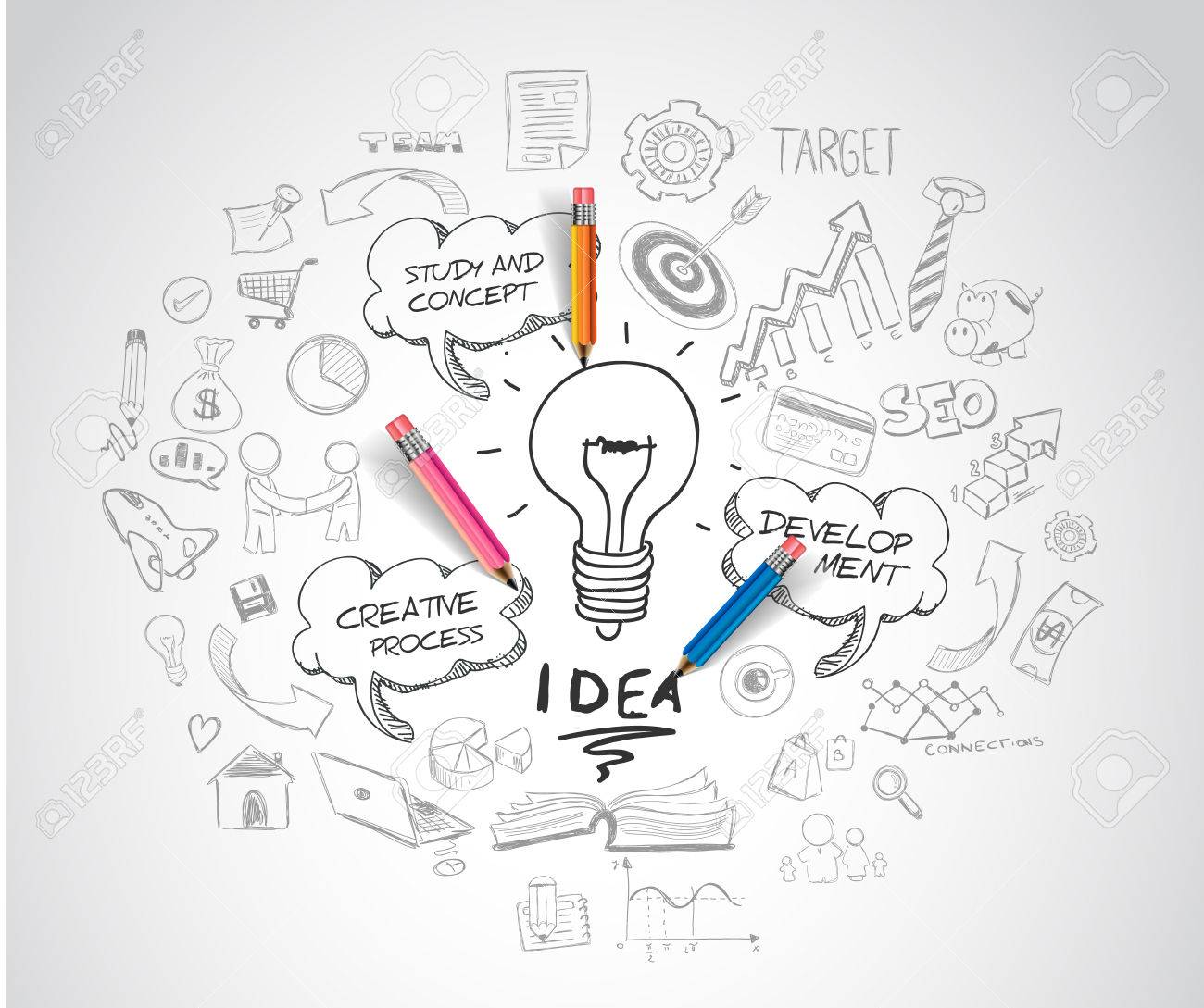 idea concept with light bulb and doodle sketches infographic icons. - 47306248