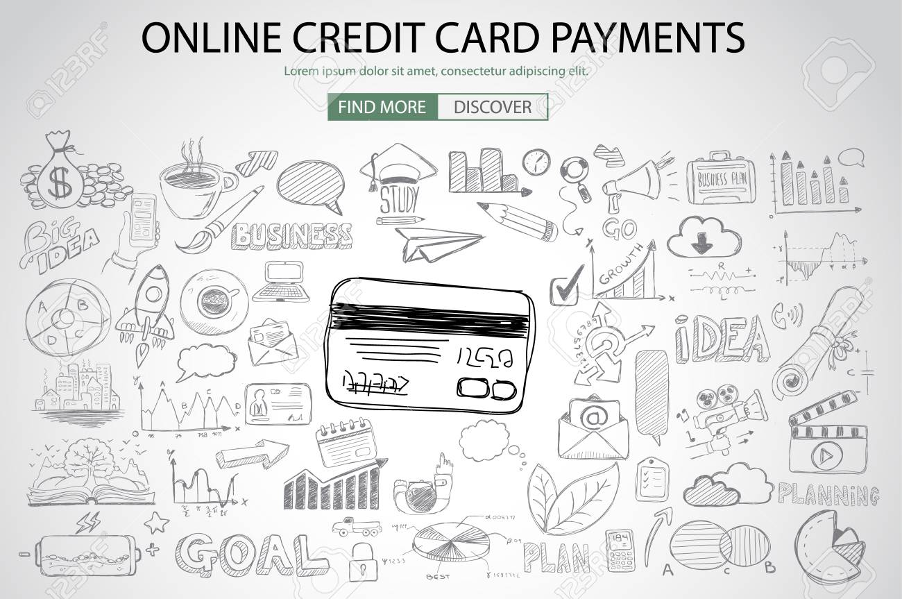 Online credit card payment concept with doodle design style online online credit card payment concept with doodle design style online purchases banking money spending reheart Images