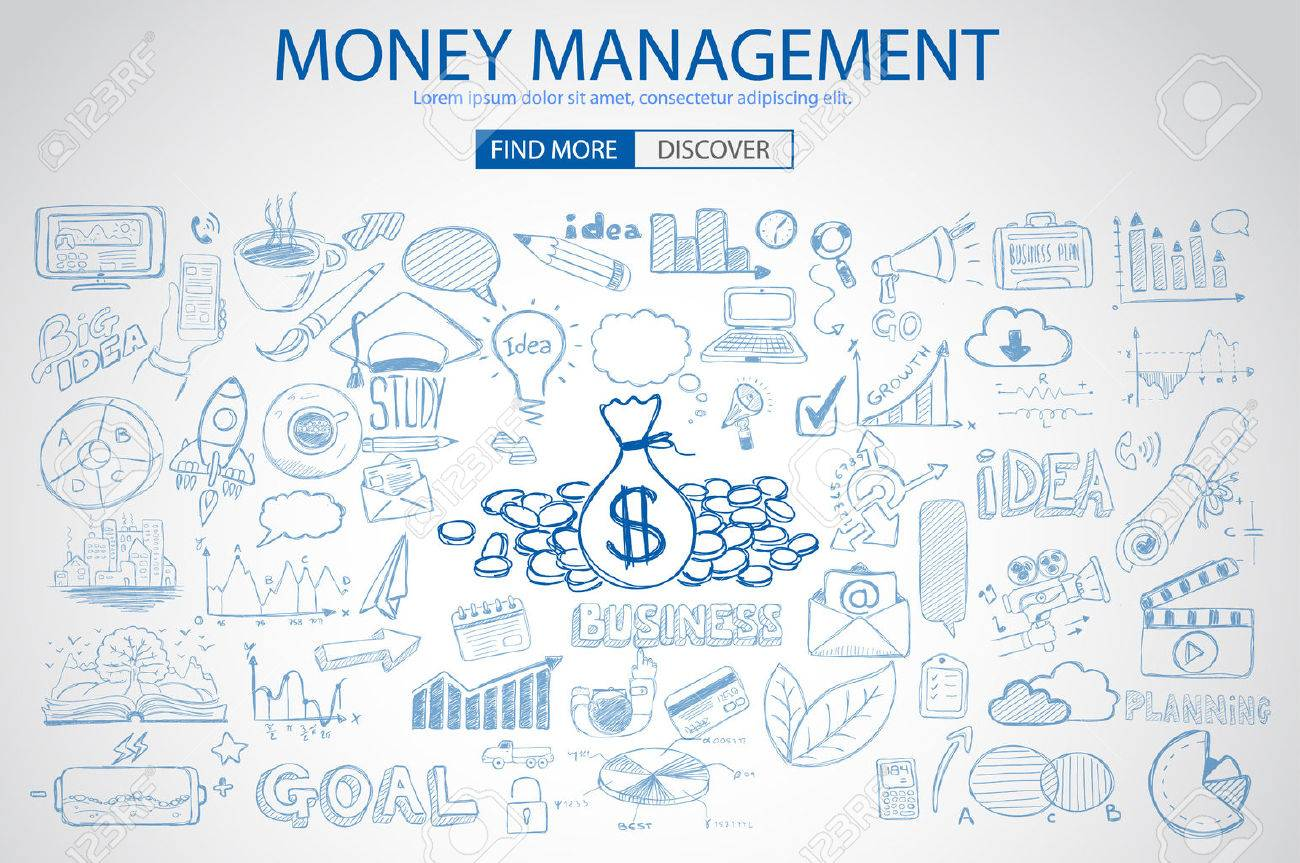 Money Management concept with Doodle design style saving solution, investmen studies, stock graphs. Modern style illustration for web banners, brochure and flyers. Stock Vector - 49092650