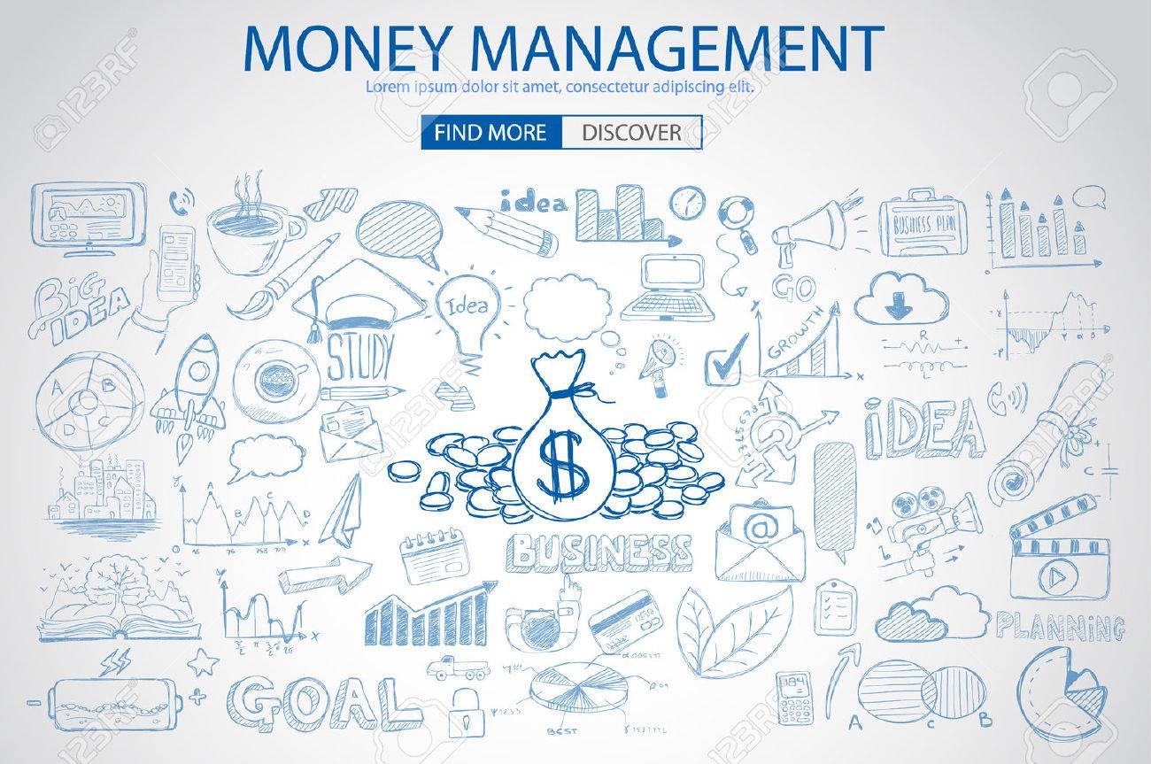 Money Management-Konzept Mit Doodle-Design-Stil Sparlösung ...