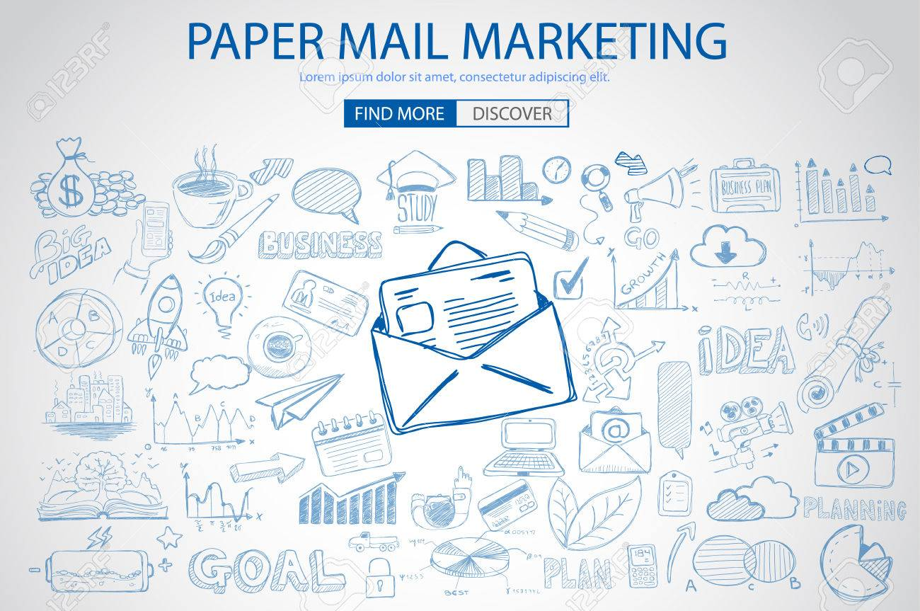 Paper Email Marketing With Doodle Design Style Sending Real Mails Promotions Creative Designs