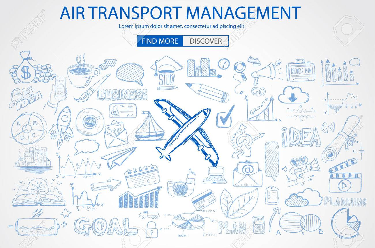 Air Transport Management Concept with Doodle design style :finding