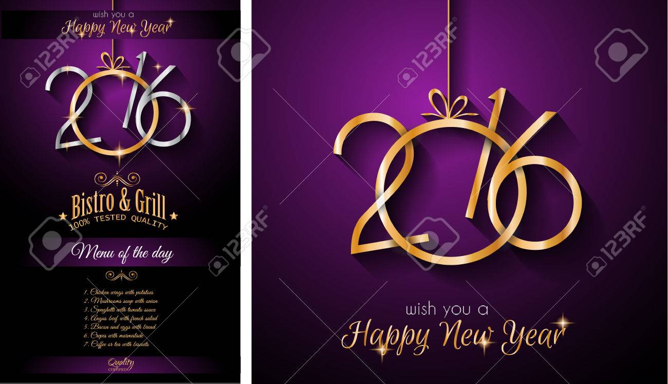 2016 Happy New Year And Merry Christmas Background For Seasonal