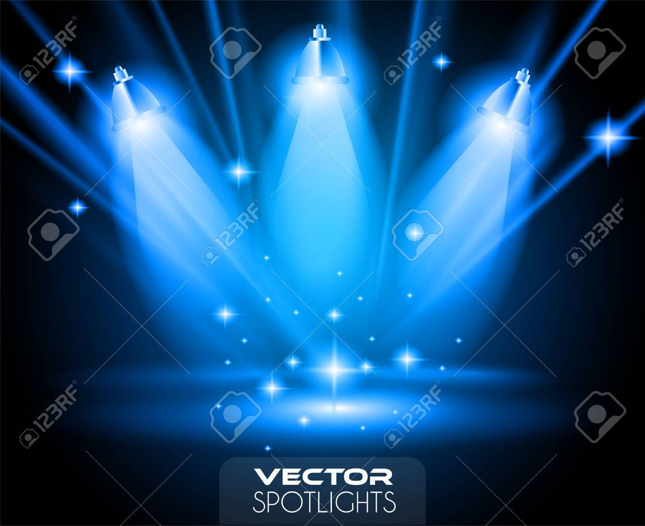 Vector Spotlights scene with different source of lights pointing to the floor or shelf. Ideal for featuring products. Lights are transparent so ready to be placed on every surface. - 54920633