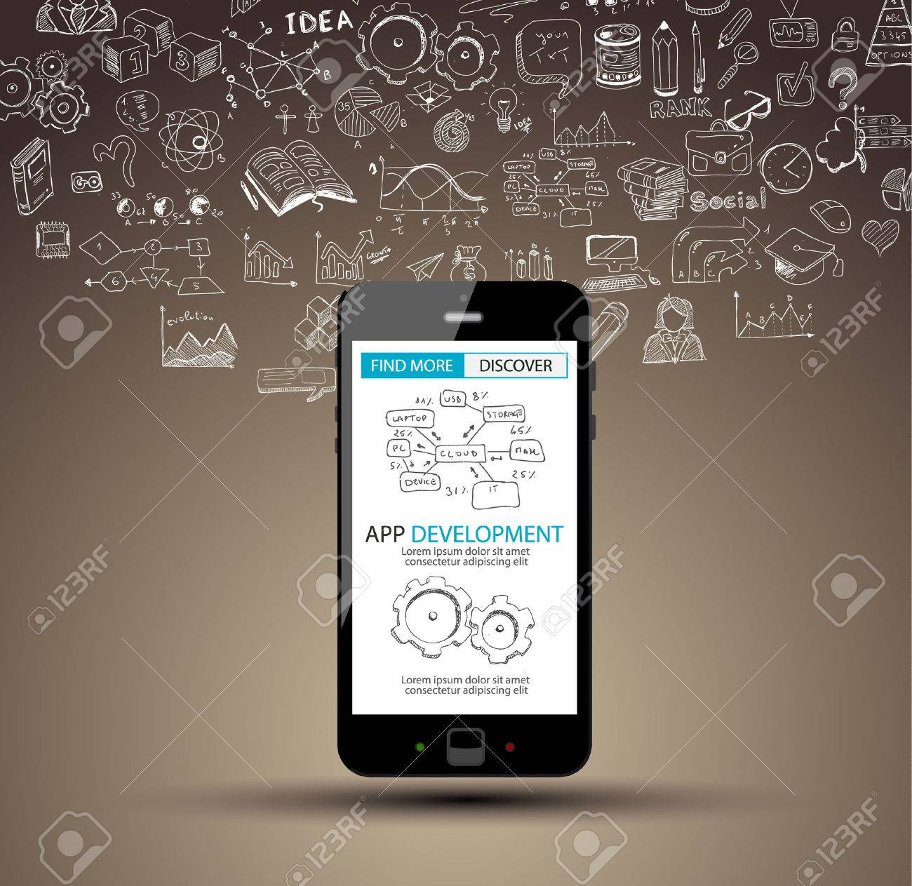App Development Concept Background with Doodle design style :user interfaces, UI design,mobiel devices. Modern style illustration for web banners, brochure and flyers. - 54920674