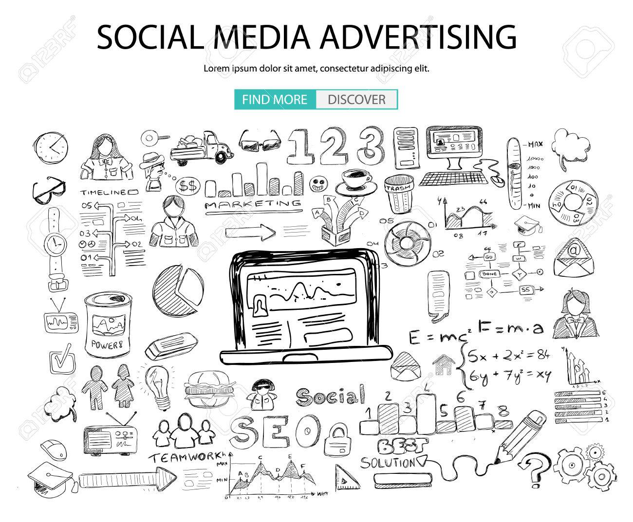 Social Media Advertising concept with Doodle design style: online solution, social media campain, creative ideas,Modern style illustration for web banners, brochure and flyers. - 54920702