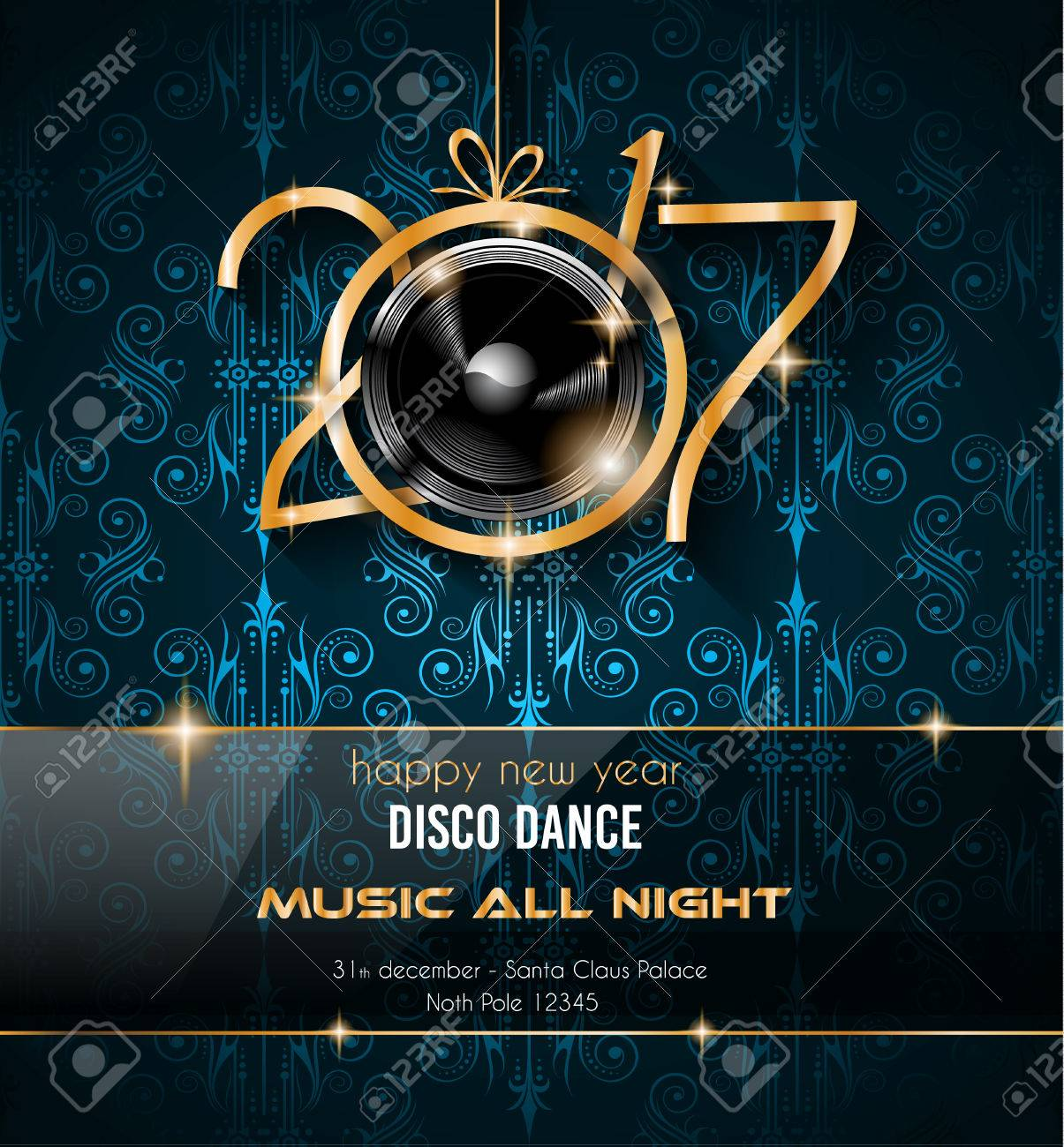 2017 Background Happy New Year Party Disco Pour Vos Flyers Et Carte