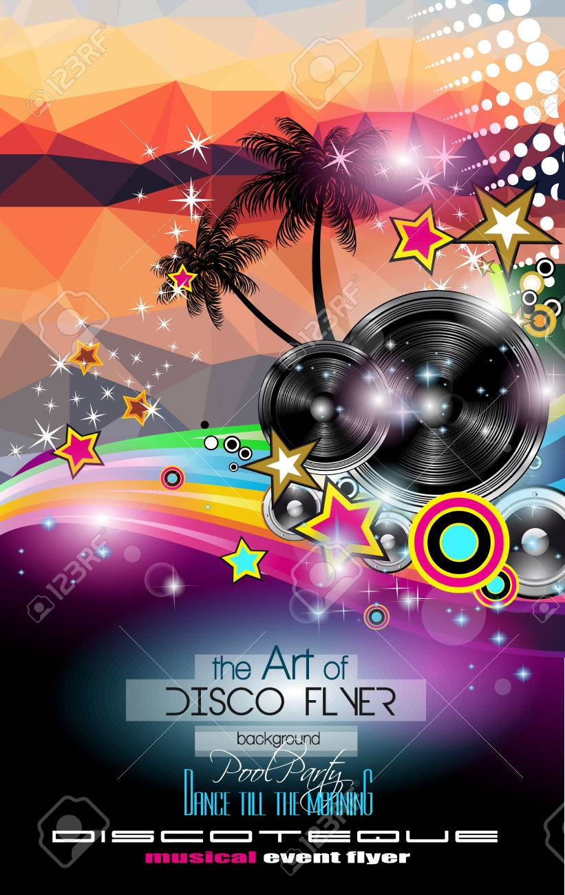 Club Disco Flyer Template With Music Elements And Colorful Scalable ...