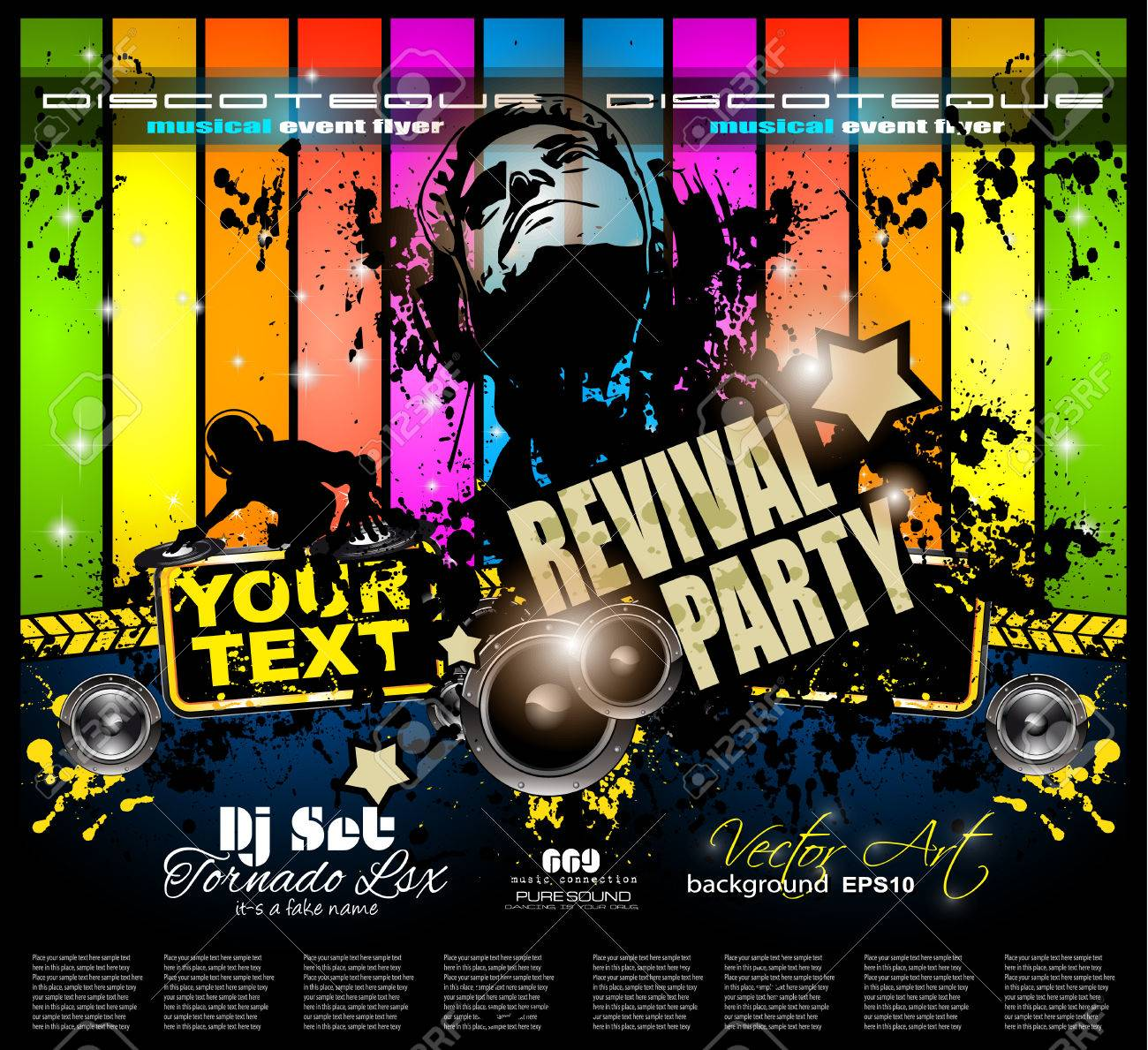 Club Disco Flyer Template With Music Elements , Colorful Scalable ...