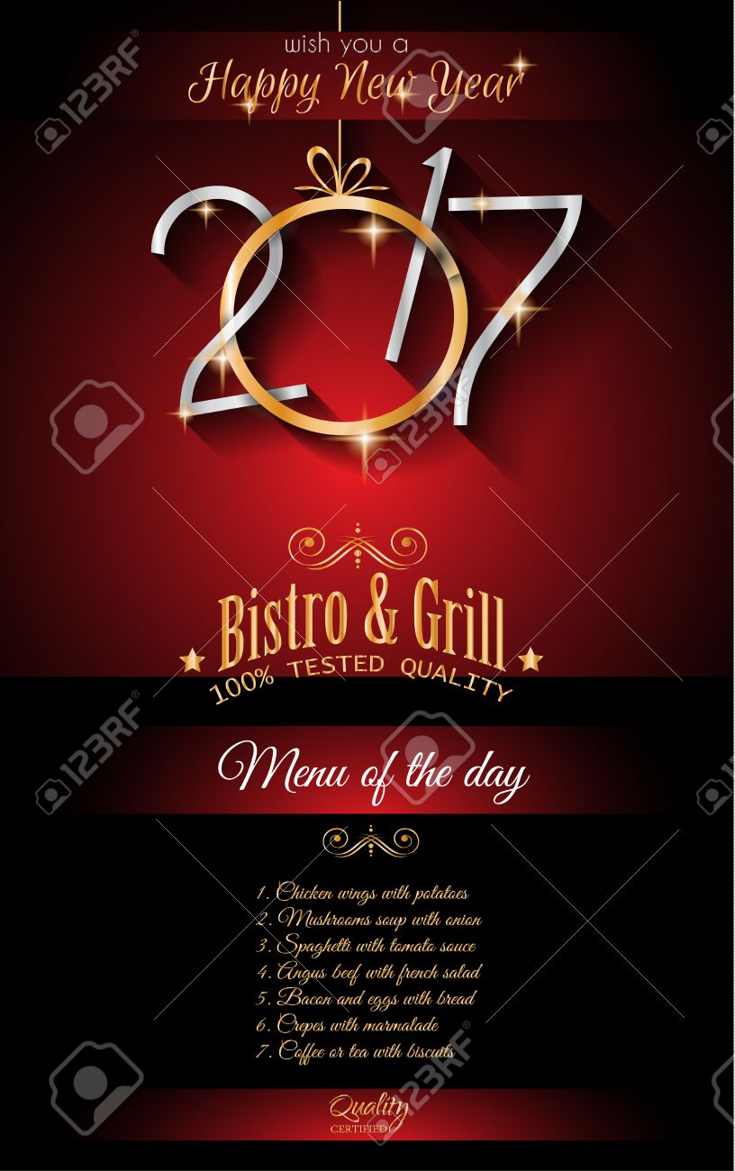 2017 Happy New Year Restaurant Menu Template Background For – Dinner Flyer