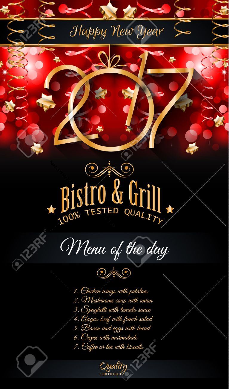 2017 Happy New Year Restaurant Menu Template Background for Seasonal Dinner Event, Parties Flyer, Lunch Event Invitations, Xmas Cards and so on. - 63907902