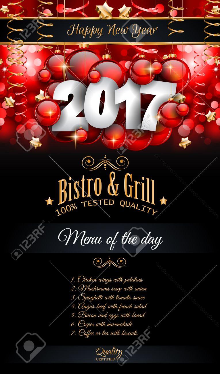 2017 happy new year restaurant menu template background for seasonal