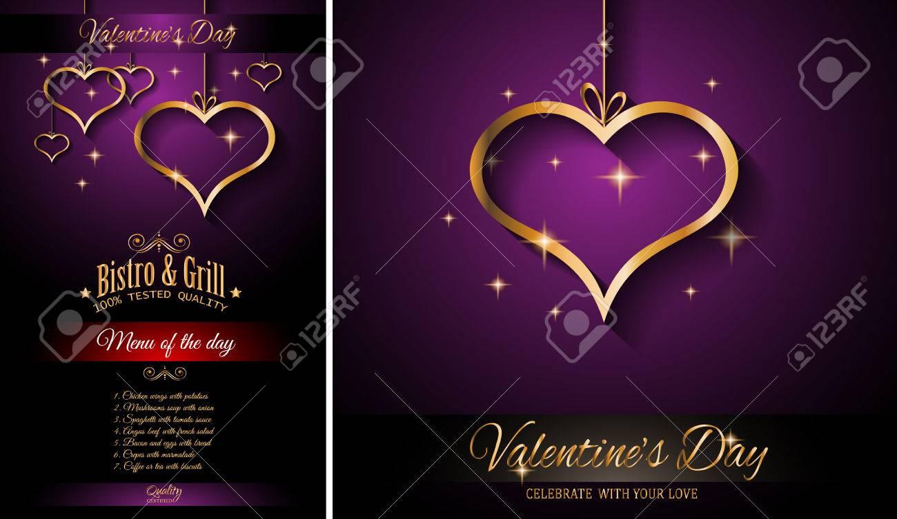 Día Restaurante Fondo De La Plantilla De Menú Para La Cena De San Valentín Romántico De Eventos Partes Folleto Invitaciones Almuerzo De Eventos