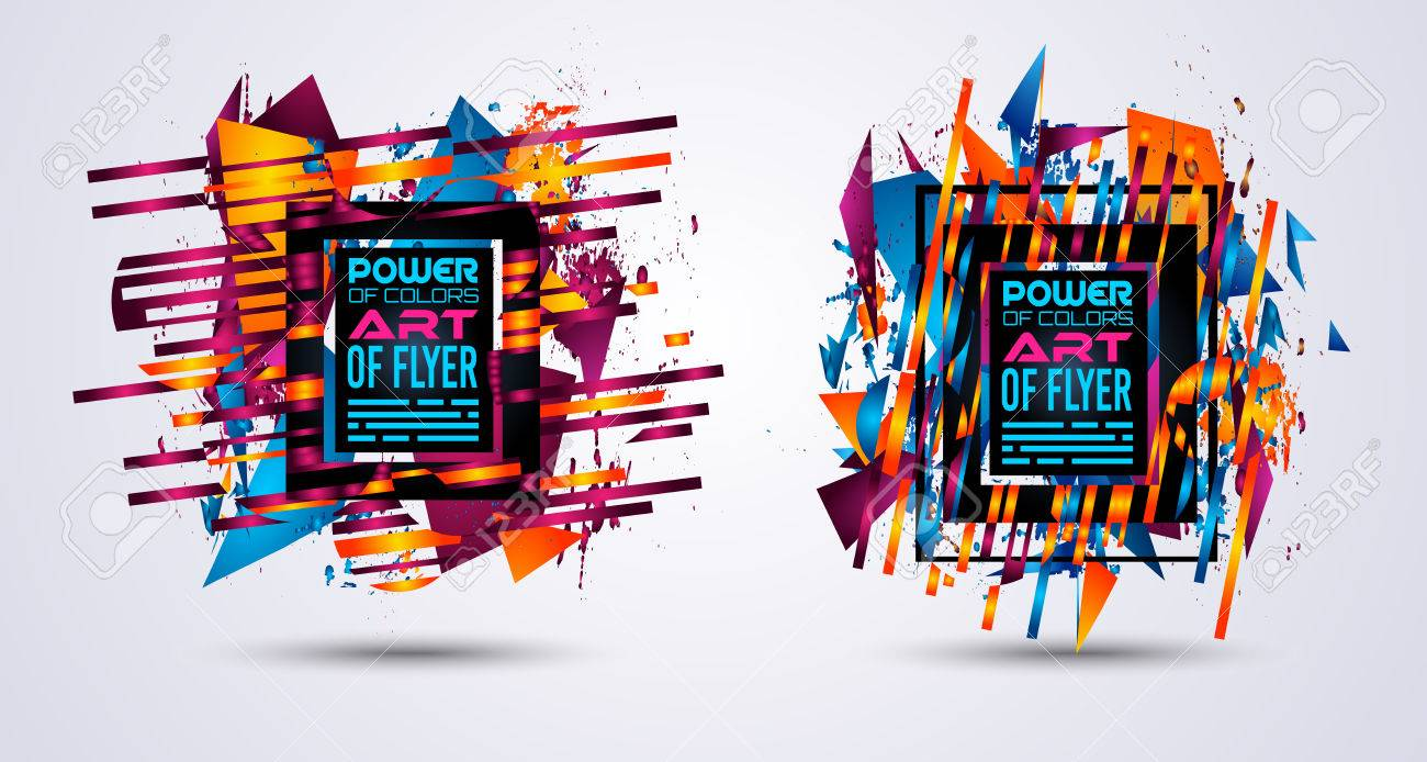 Futuristic Frame Art Design With Abstract Shapes And Drops Of