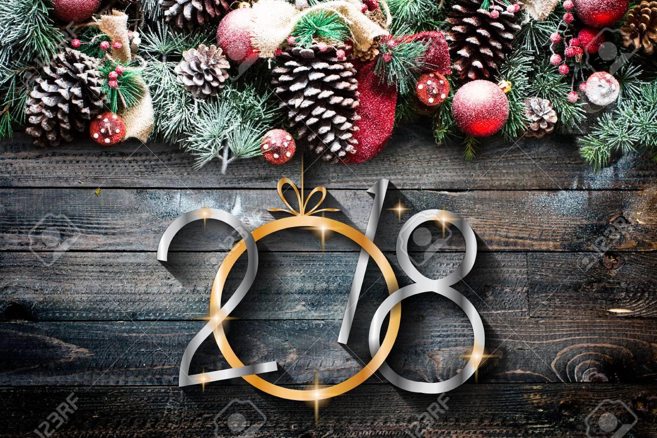 2018 Feliz Año Nuevo Y Feliz Navidad Marco Con Nieve Y Madera Real ...