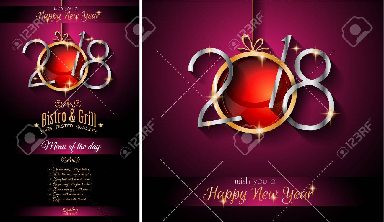 2018 happy new year and christmas themed invitations stock vector 88086513