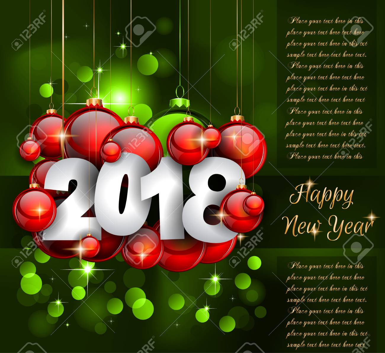 2018 Happy New Year Greetings Card Or Christmas Themed Invitations