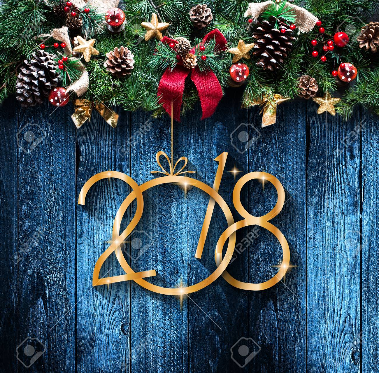 2018 Happy New Year And Merry Christmas Frame With Snow And.. Stock ...