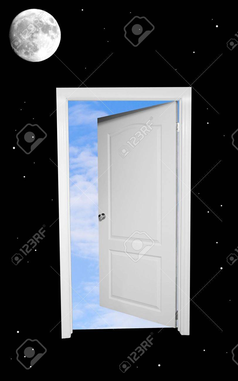 A black and white door floating in space opens to blue skies beyond. Stock Photo : floating door - pezcame.com
