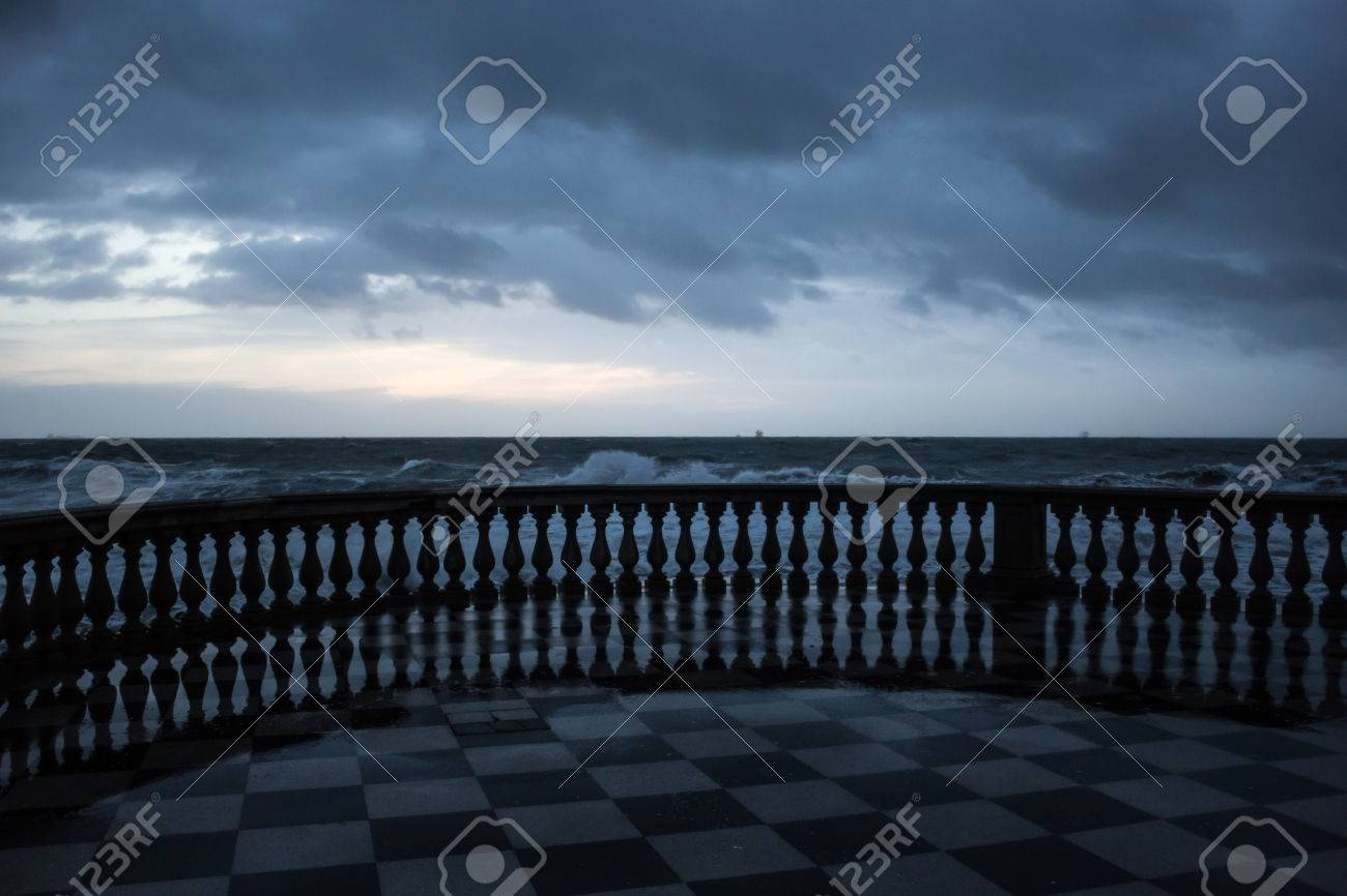 View Of The Sea In Winter From Terrazza Mascagni, Livorno, Italy ...