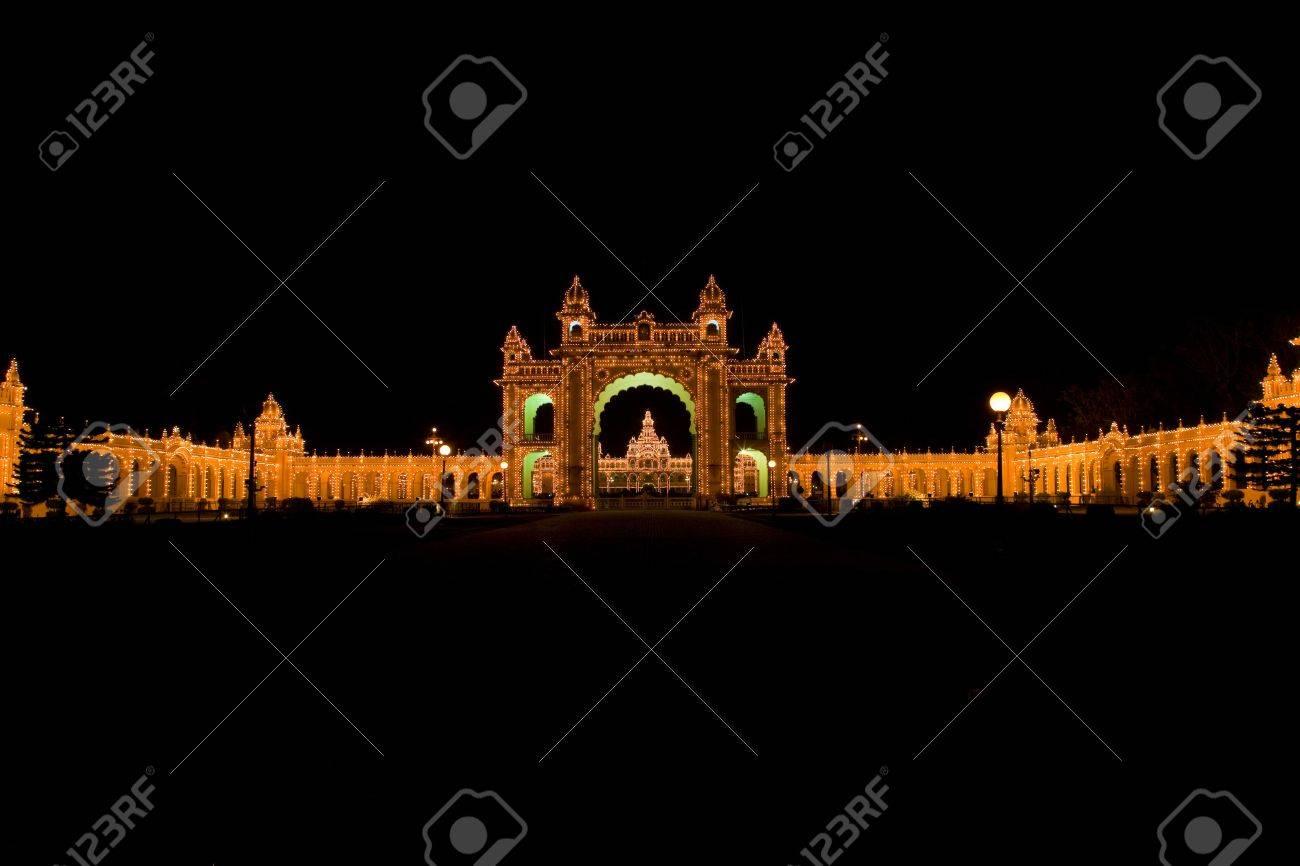 Mysore city palace illuminated - Karnataka, India Stock Photo - 15574360