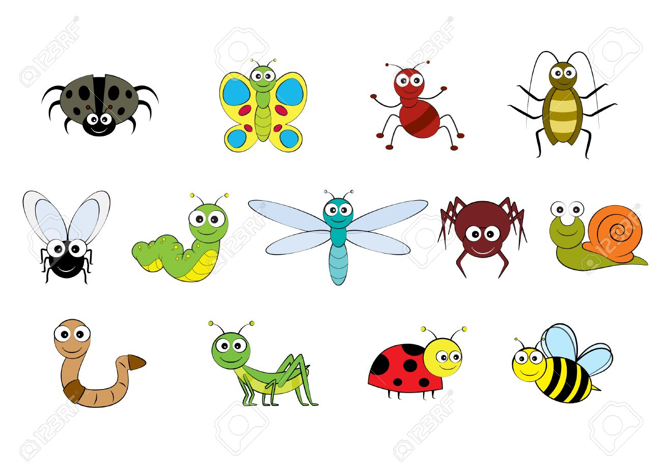 garden animals. Vector - Cartoon-style Illustration Images Of Mini Beasts, Insects And Small Garden Animals
