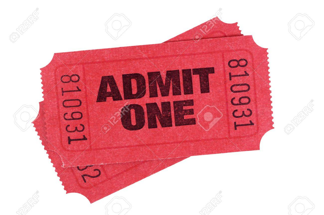 Red Admit One Tickets Isolated On A White Background. Stock Photo ...