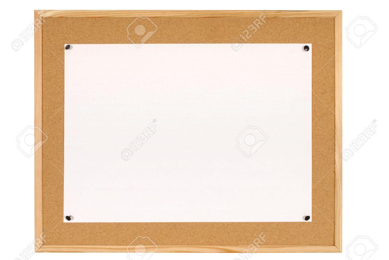Kork Oder Bulletin Board Mit Holzrahmen Und Großes Blatt Weißes ...