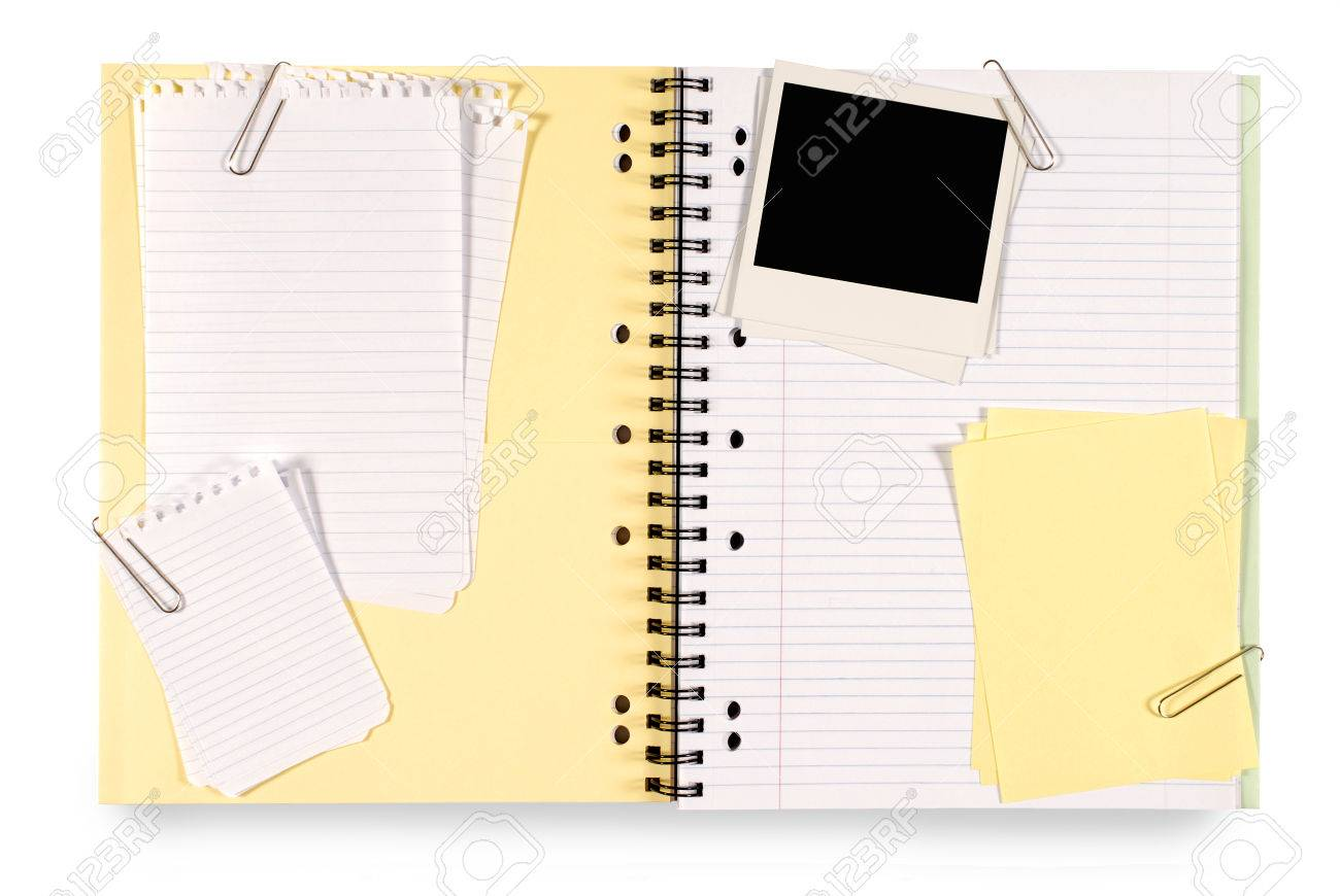 Scrapbook paper note - Stock Photo Writing Book Or Scrapbook With Various Untidy Attachments Including Note Paper Sticky Notes And Blank Instant Camera Photo Prints Prints