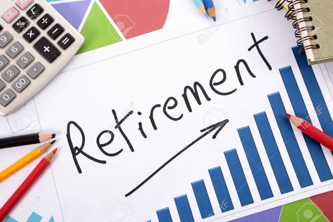 the word retirement written on a bar graph surrounded by pencils